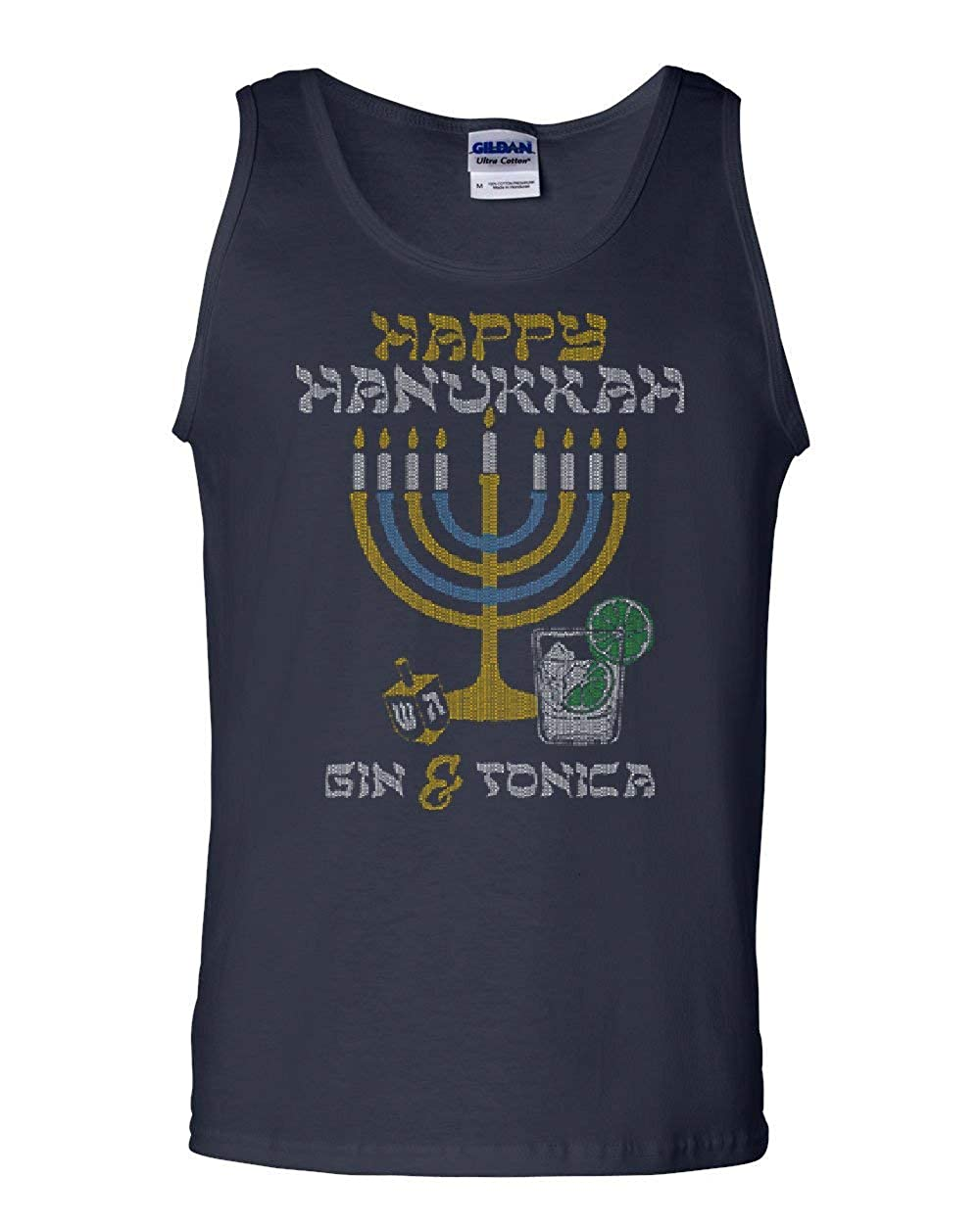 Tee Hunt Happy Hanukkah Tank Top Menorah Drinking Gin /& Tonica Dreidel Sleeveless