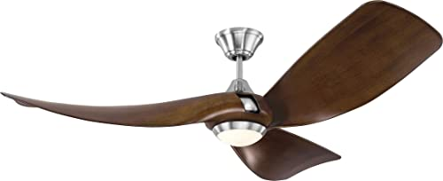 Monte Carlo 3MER56BSD Melody Modern 56 Outdoor Ceiling Fan with LED Light and Hand Remote Control, 3 ABS Blades, Brushed Steel