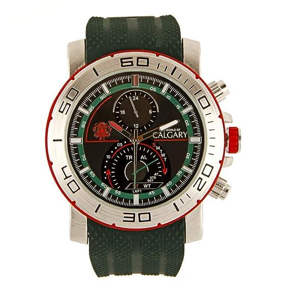 Relojes Calgary Marine Team. Reloj Deportivo para Caballero, Correa Verde Militar y Esfera Verde y Plateada: Amazon.es: Relojes