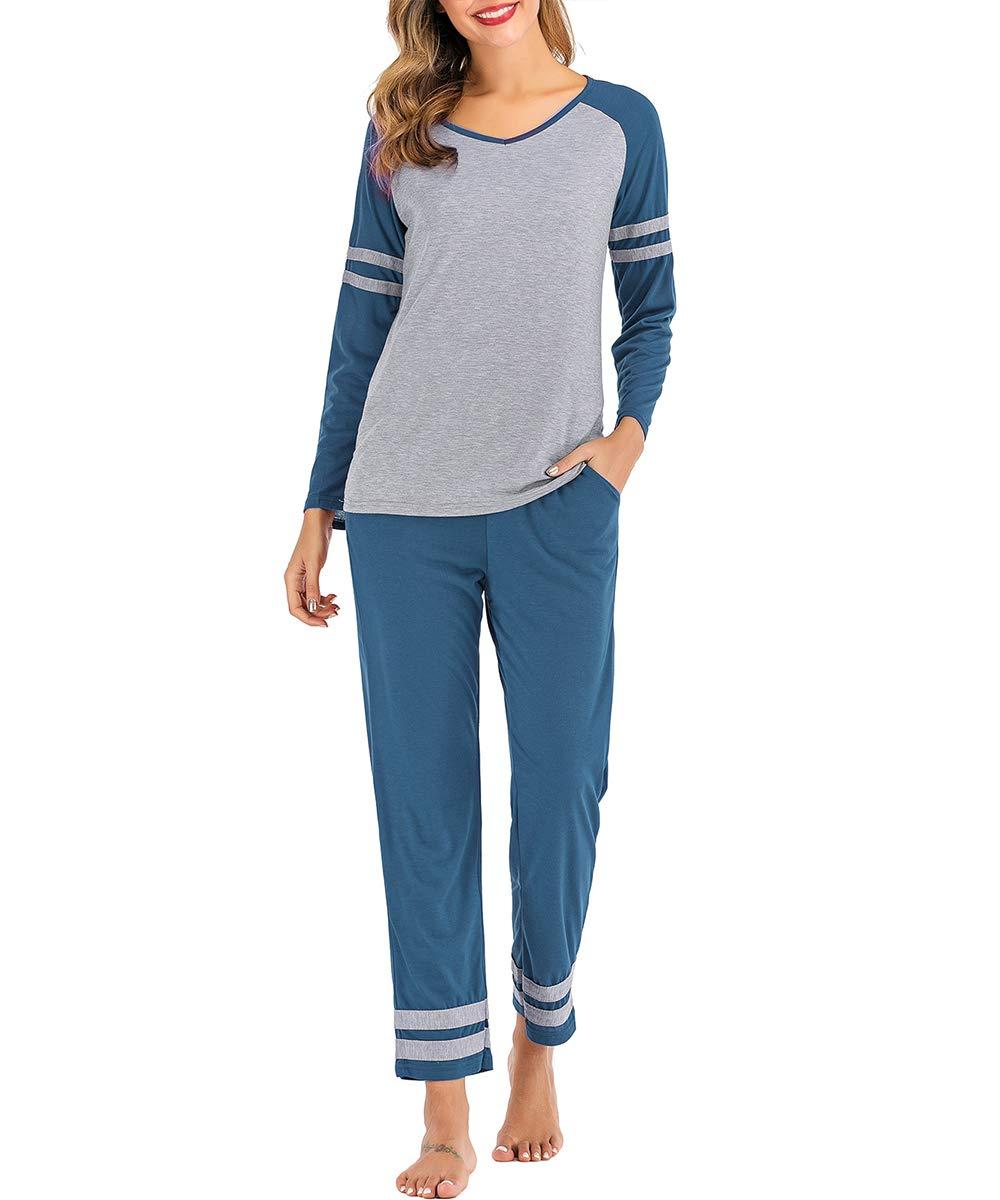 AOVXO Soft Pajama Set for Women Casual V-Neck Long Sleeve Loose Loungewear Set Long Sleeve Tops & Long Sleep Pants with Pockets Loungewear (Blue with Grey, XXL)