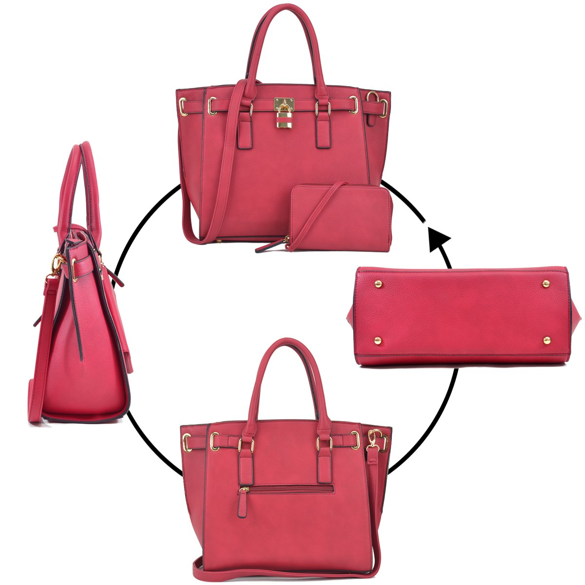 Women Large Vegan Leather Tote Bags Structured Work Bags Shoulder Purses Handbags for Women with Padlock by Dasein (Image #6)