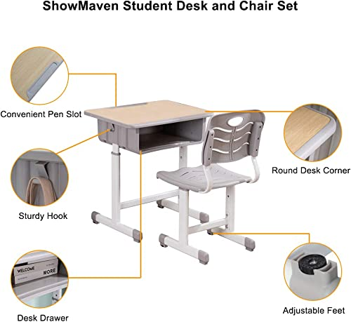 ShowMaven Student Desk and Chair Combo, Height Adjustable Children s Desk and Chair Workstation with Drawer, Pencil Grooves and Hanging Hooks for Home, School and Training, Light Grey White Oak
