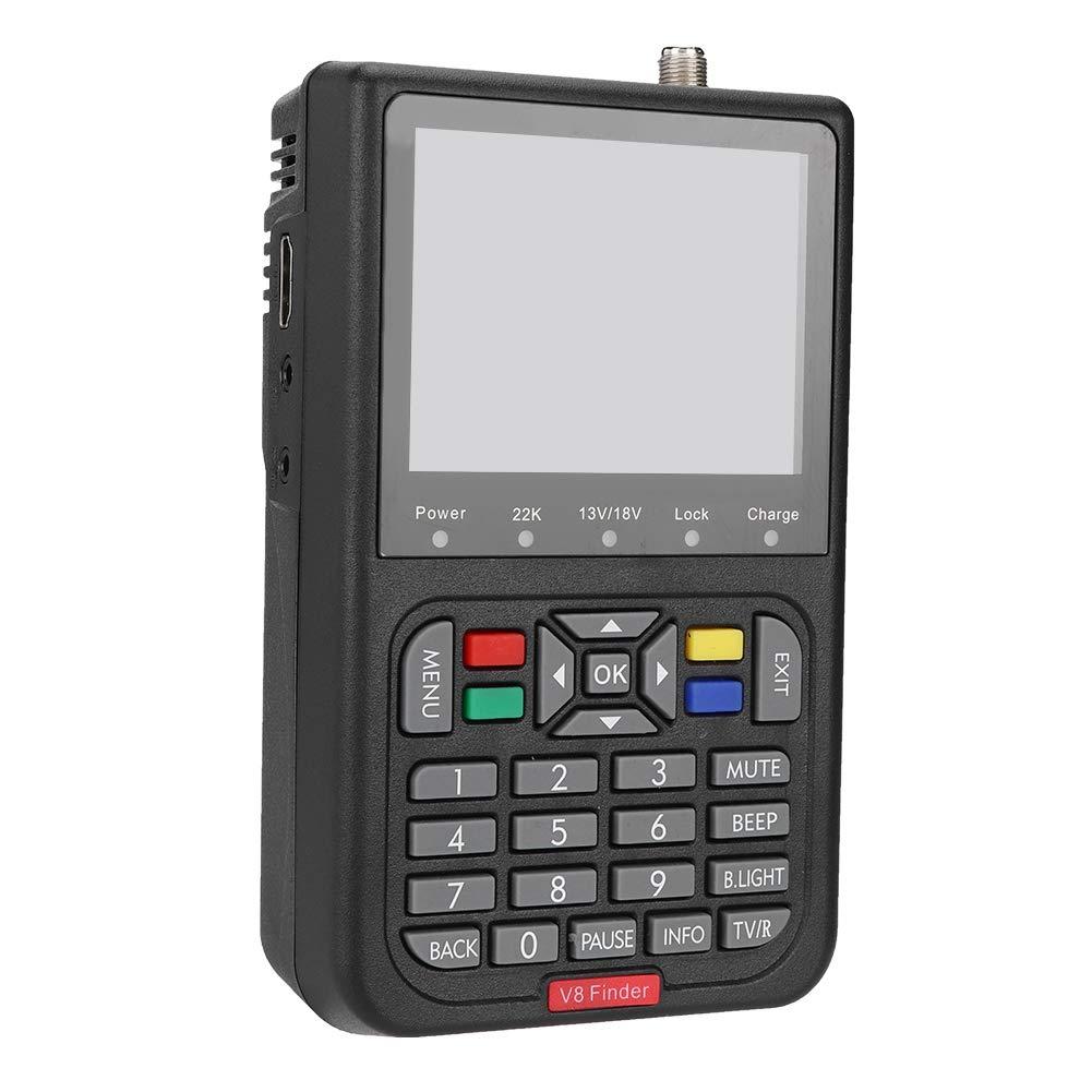 Lazmin Satellite Finder Satellite Signal Meter, Digital V8 Satellite Signal Finder HD 1080P DVB-S Signal Strength Meter Detector, 6000 Channels TV and Radio programmable (Black) (110-240V) by Lazmin (Image #1)