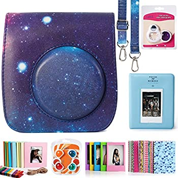 CAIUL Compatible Mini 25 Camera Case Bundle with Album, Filters & Other Accessories for Fujifilm Instax Mini 25 26 (Galaxy, 7 Items)