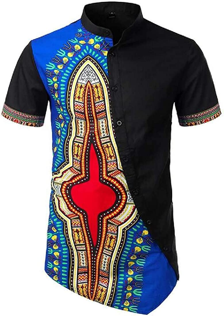 SHOWNO Mens Fashion African Print Stand Collar Irregular Button Down Shirts
