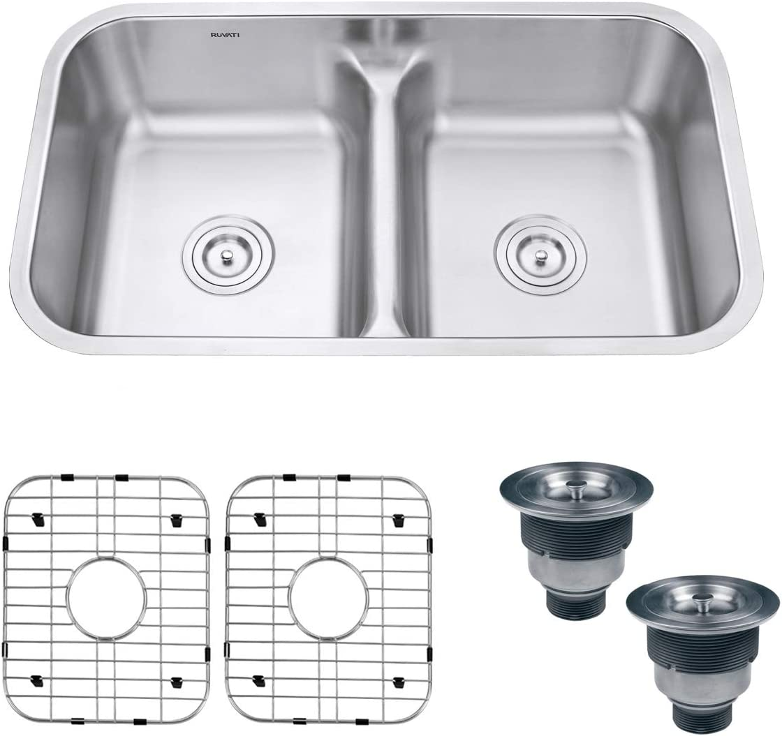 Ruvati 32-inch Low-Divide 50/50 Double Bowl Undermount 16 Gauge Stainless Steel Kitchen Sink