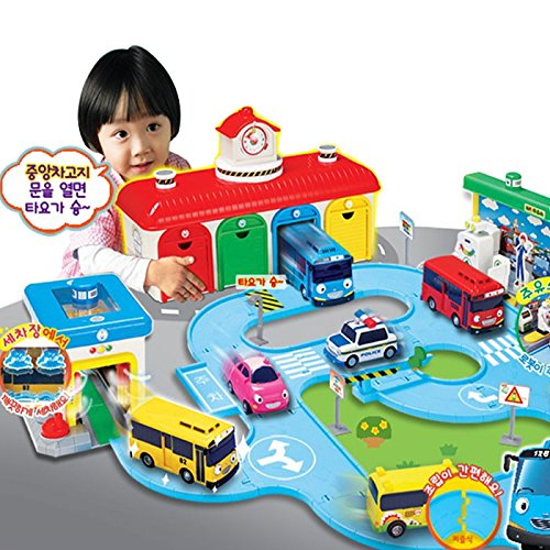 mimi world Little Bus Tayo - Bus Garage Special Set, Road Play Toy, Special Toy Set With Central Garage, Car Wash, Gas Station With Songs