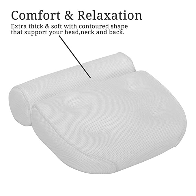 Bathtub Spa Bath Pillow Cushion, Non-slip 6 Strong Suction Cups, Comfortable Head Rest and Neck, Back, Shoulder Support by Idle Hippo ¨C Anti Mold Quick Dry Air Mesh, Fits Any Size Tub Comfyology