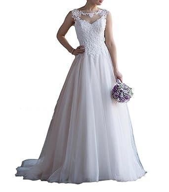 Vweil Vintage Inspired Vestido De Novia Sheer Lace Bridal Wedding Dresses 2018 Ivory US2