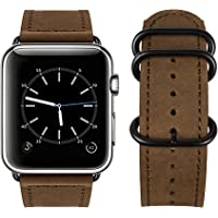 Top4cus Genuine Leather iwatch Stainless Metal Replacement Band
