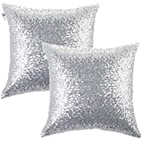 kevin textile decorative glitzy sequin u0026 comfy satin solid throw pillow cover sham 18 inch square pillow case hidden zipper design 2 packssilver