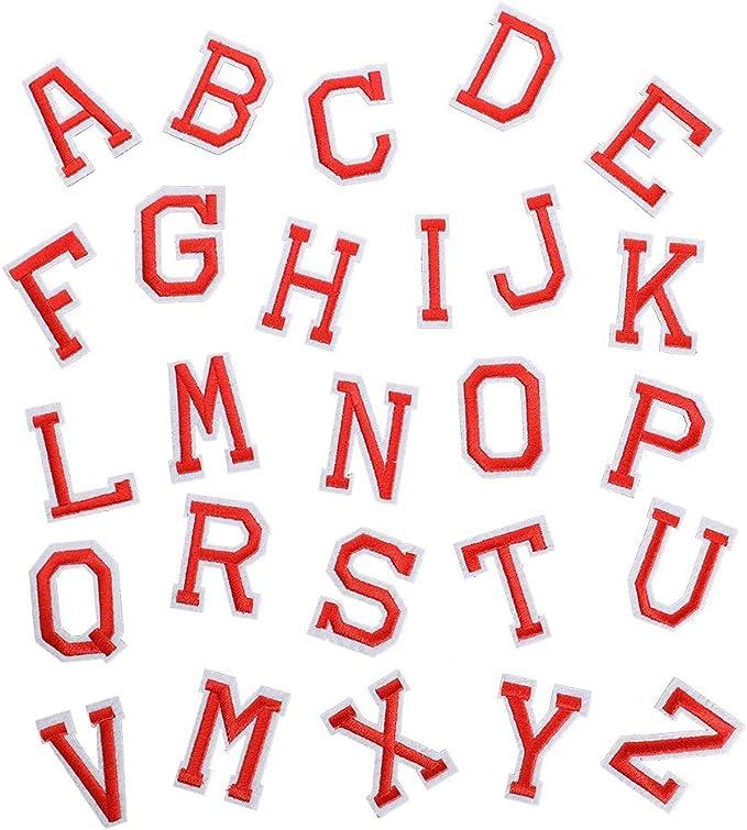 78 parches bordados para planchar con letras de color rojo de la A ...