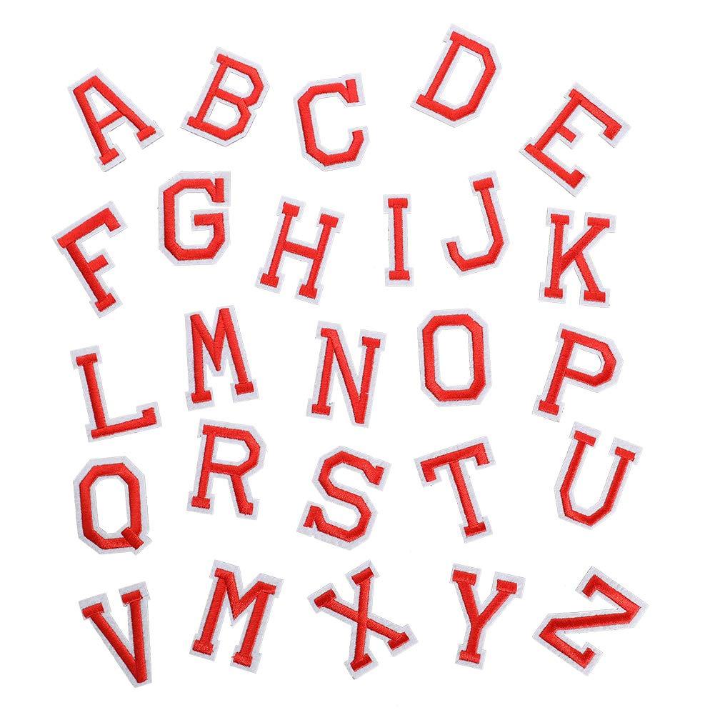 para vaqueros camisetas mochilas chaquetas etc. para planchar o coser 78 parches bordados para planchar con letras de color rojo de la A a la Z