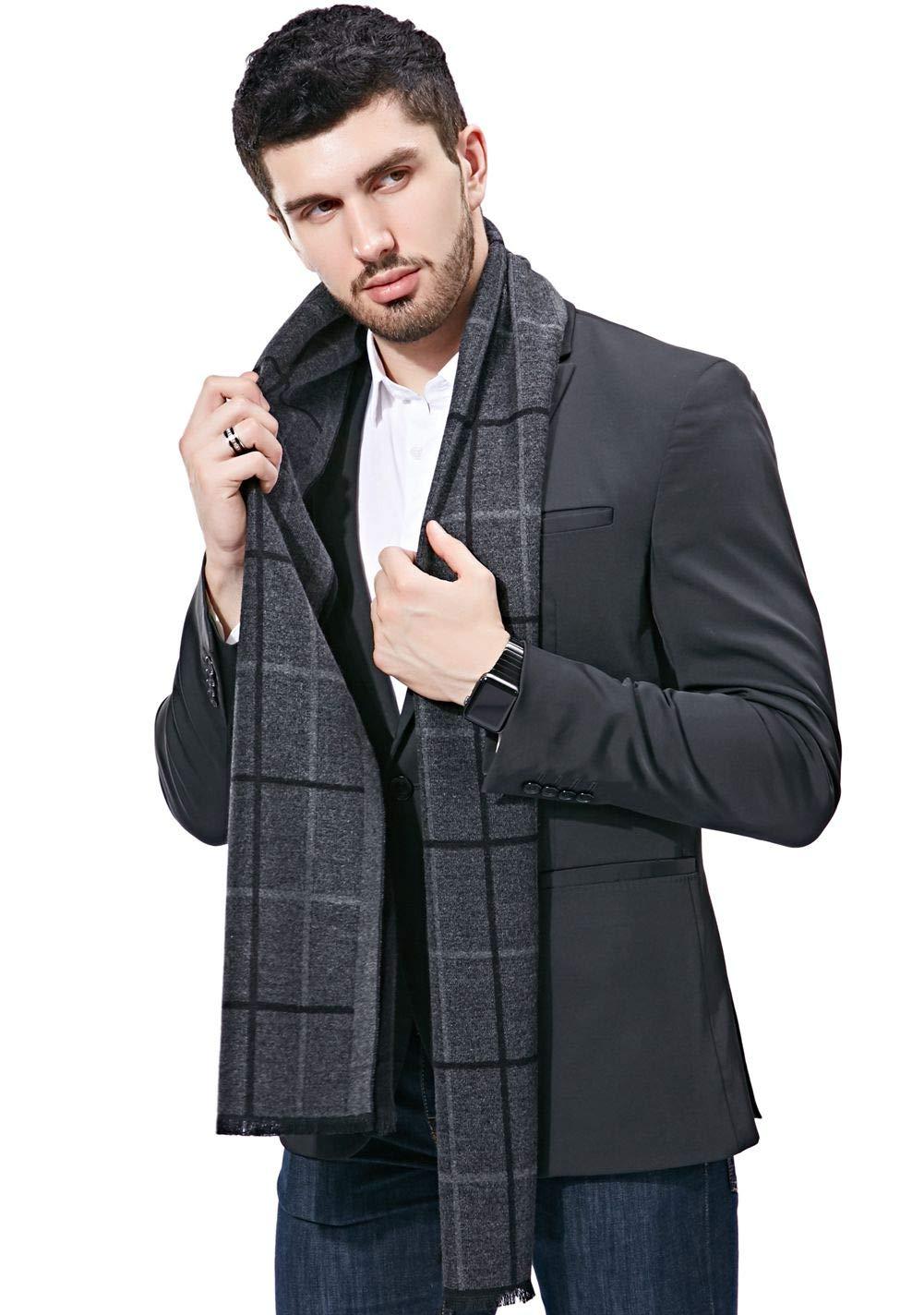 FULLRON Men Cashmere Scarf Long Warm Cotton Plaid Scarves(Grey, Black)