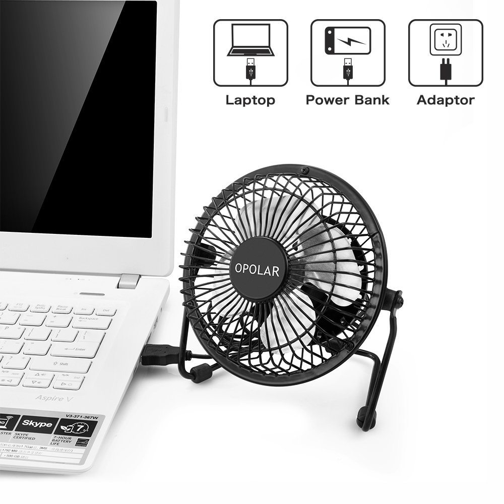 OPOLAR USB Desk Personal Fan, Small and Quiet, Metal Design for Home Office Personal Cooling, Two Pack by OPOLAR (Image #3)