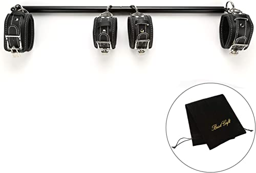 exreizst Adjustable Expandable Spreader Bar with Leather Straps Set Sports Training, Black
