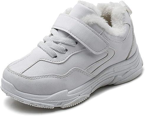 Zapatillas Deportivas para niños con Velcro Zapatillas de Deporte de Felpa y cálidas Zapatillas de Deporte Casual en Blanco y Negro para niños: Amazon.es: Zapatos y complementos