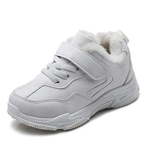 862e2e417a7 Zapatillas Deportivas para niños con Velcro Zapatillas de Deporte de Felpa  y cálidas Zapatillas de Deporte Casual en Blanco y Negro para niños   Amazon.es  ...