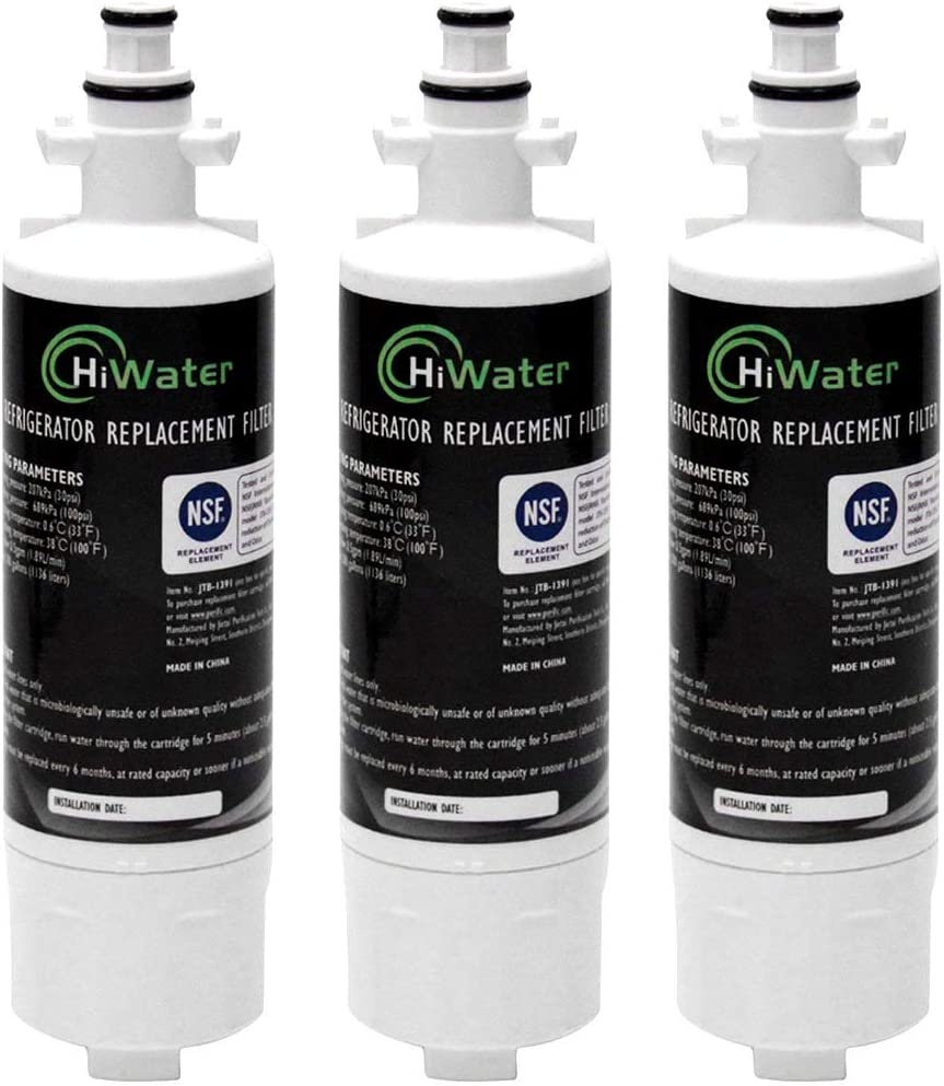 HiWater LT700P Refrigerator Water Filter NSF 42 Certified Replacement for ADQ36006101 LG LT700P, KENMORE 469690, 9690, ADQ36006102 lfx21976st WSL-3 LT700PC LFXC24726D LFXS29766S Pack of 3