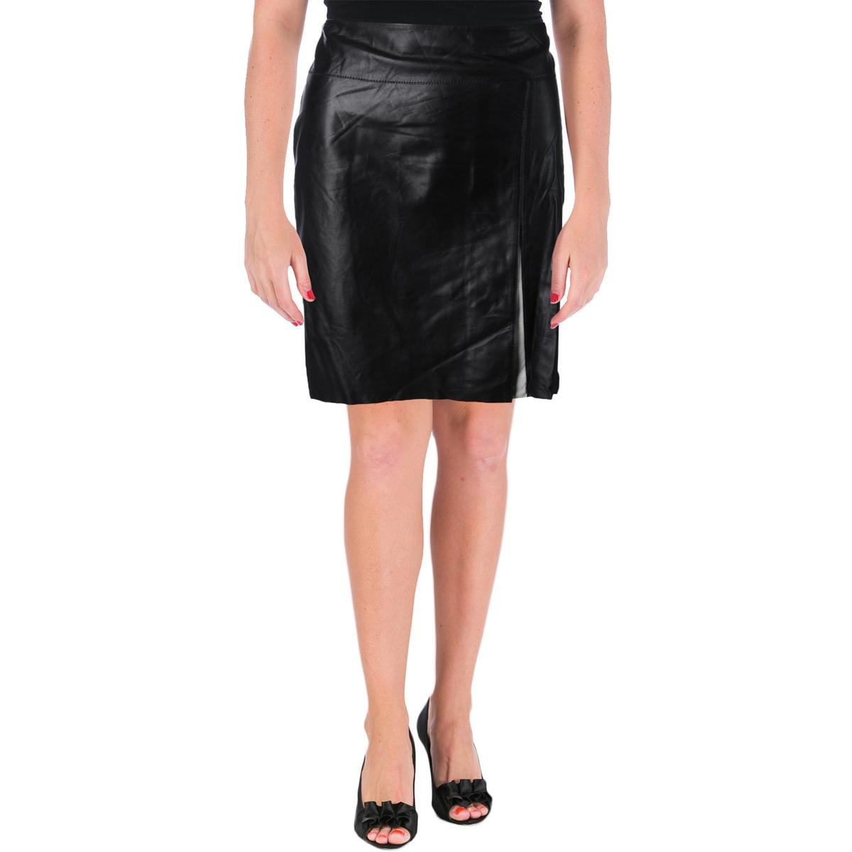 Lauren Ralph Lauren Womens Lambskin Leather Colorblock Pencil Skirt B/W 4