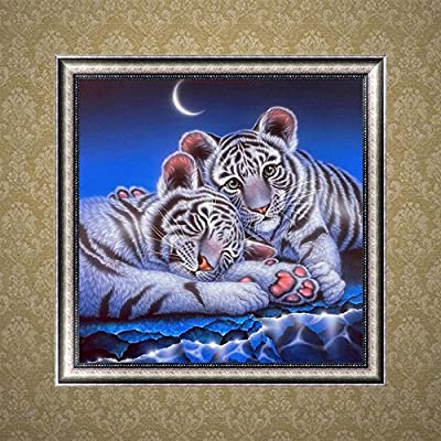 DIY 5D Diamond Painting Kit, Painting Cross Stitch Drill Crystal Rhinestone Embroidery Pictures Arts Craft Canvas for Home Wall Decoration Gift, Cock, Cat, Tiger