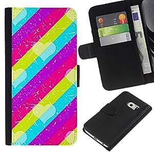 Modelo rosado del trullo púrpura Líneas- la tarjeta de Crédito Slots PU Funda de cuero Monedero caso cubierta de piel Para Samsung Galaxy S6 EDGE (NOT S6)