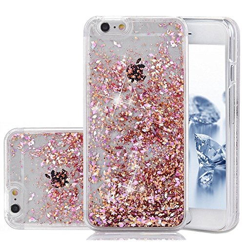 Price comparison product image iPhone SE Case, Liquid Case, Asstar Fashion Creative Design Flowing Liquid Floating Luxury Bling Glitter Sparkle Diamond Hard Case for iPhone SE, iPhone 5, iPhone 5S (Rose gold)