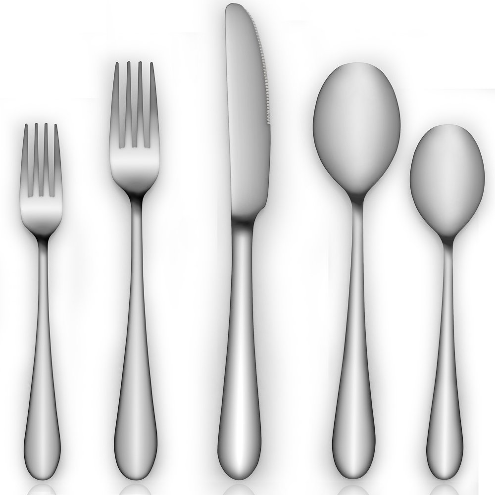 Silverware Set Black, AOOSY Flatware Set, 5-Piece Heavy-Duty Cutlery,Black 18/10 Stainless Steel Eating Utensils Include Dinner Knives, Forks, Spoons, Dessert Forks and Spoons, for 1 people SYNCHKG105457