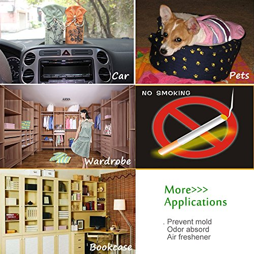 HUANLEMAI 4-Pack x 250g Natural Activated Moso-Bamboo Charcoal Air Purifying Bags, Fragrance Free, Chemical Free, Odor Eliminator Dehumidifier Purifier Absorb Moisture for Home, Kitchen, Closet, Car by HUANLEMAI (Image #6)