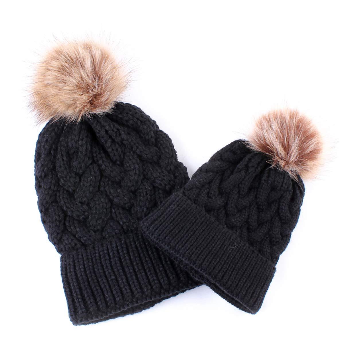 30d9165e46cdc 2PCS Mother Baby Hat Family Matching Cap Winter Warmer Knit Wool Beanie Ski  Cap (Black)  Amazon.co.uk  Clothing