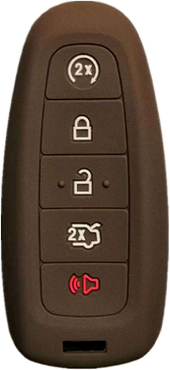 RUNZUIE Silicone Keyless Entry Remote Key Fob Cover Case Protector Fit for Lincoln MKS MKT MKX MKZ Ford Edge Escape Explorer Focus Taurus Flex Brown 5 Buttons