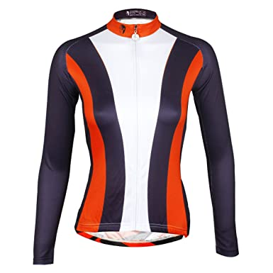 ILPALADINO Women s Cycling Jersey Long Sleeve Biking Shirts Black Red and  White ... 94c066f3b