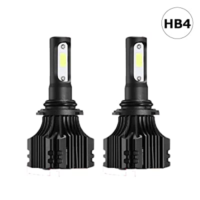 Auto-Ideas 2pcs 9006 HB4 led Fog Light bulb All in one led headlight Kit 6500K 8000LM Bright White foglight 72W Bridgelux COB Chip automotive lamp Car LED Headlight Bulb ALS-E236W-9006: Automotive