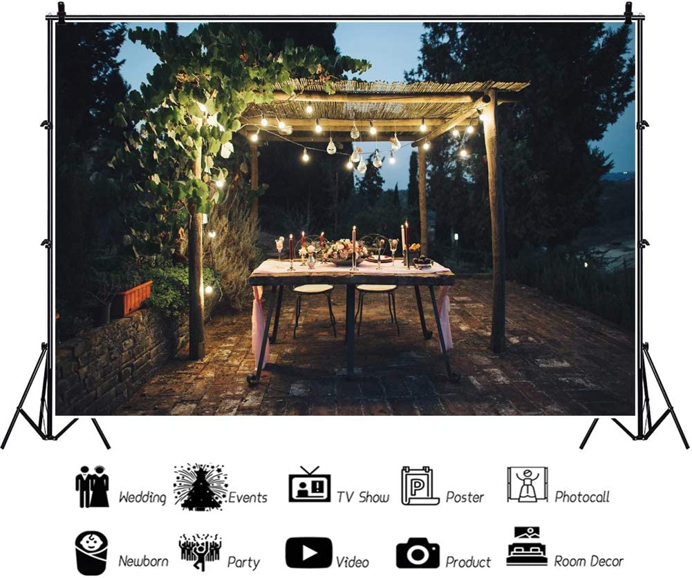 AOFOTO 12x10ft Night Wedding Reception Backdrop Rustic Style Outdoor Decorated Table Background Bouquet Candle Warm Lights Valentines Day Marriage Anniversary Date Night Photoshoot Props Vinyl