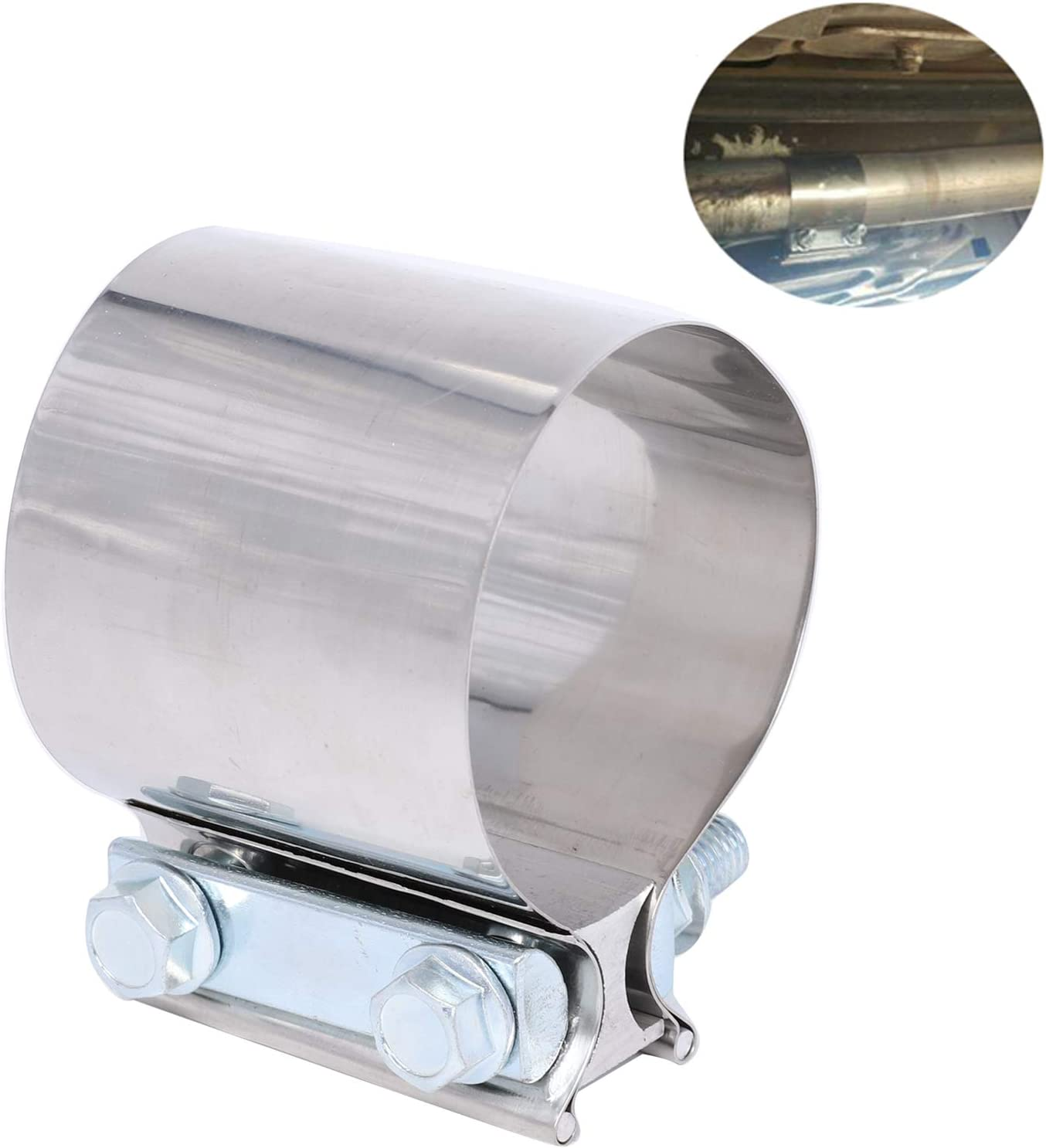 BETTERCLOUD 2.25 Stainless Steel Butt Joint Band Exhaust Clamp with I Block