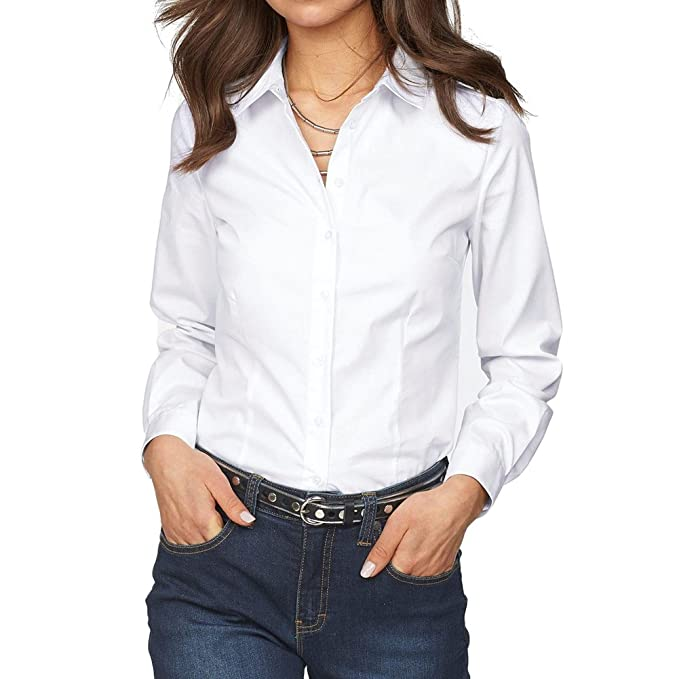 Hibote Blusas Otoño Mujer Camisas Manga Larga Oficina Camisas Damas Trabajo Negocios Camisas Formales Blanco Negro