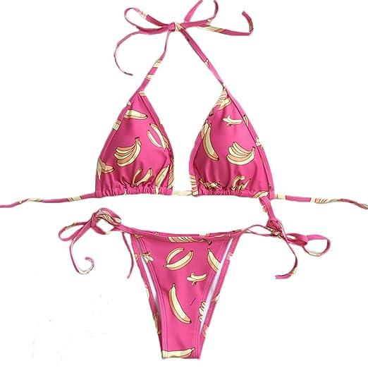 7211ec80dc3c5 remeo suit Banana Print Tie Side Triangle Two Pieces Bikini Set Swimwear