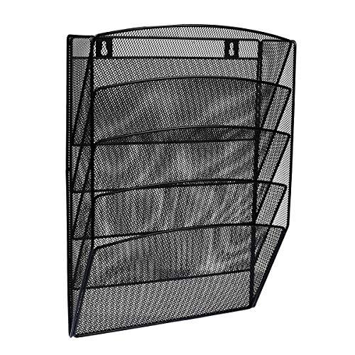 AdirOffice Steel Mesh Magazine Wall Rack - Functional Opaque Magazine Organizer - Great for Lobbies Reception Areas & More (5 Pocket, Black) (Wall Magazine Rack Bathroom)