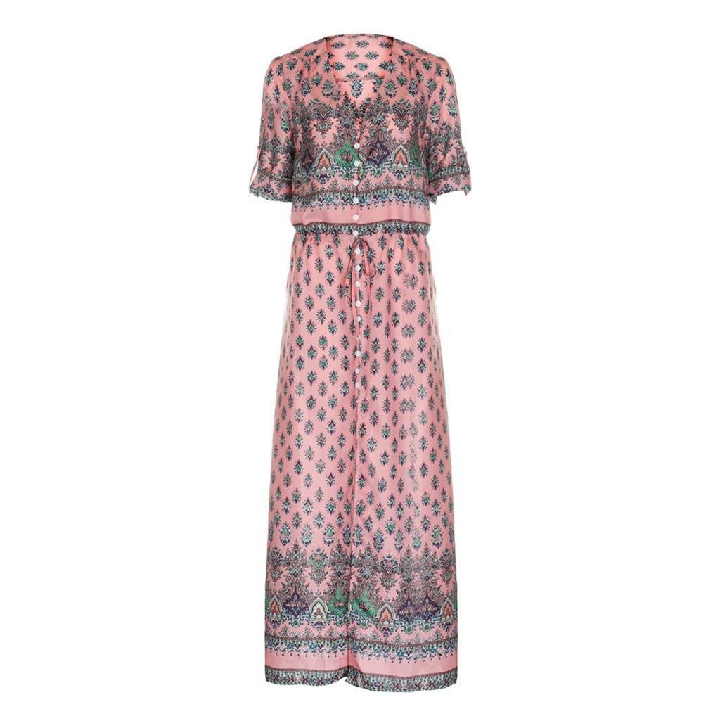 Rosennie Damen Lange Maxi Kleid V-Ausschnitt Drucken Strand Kleid:  Amazon.de: Bekleidung