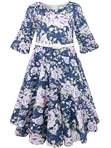 Bonny Billy Girls Classy Vintage Floral Swing Kids Party Dress with Belt 3-4 Years Purple Flower -