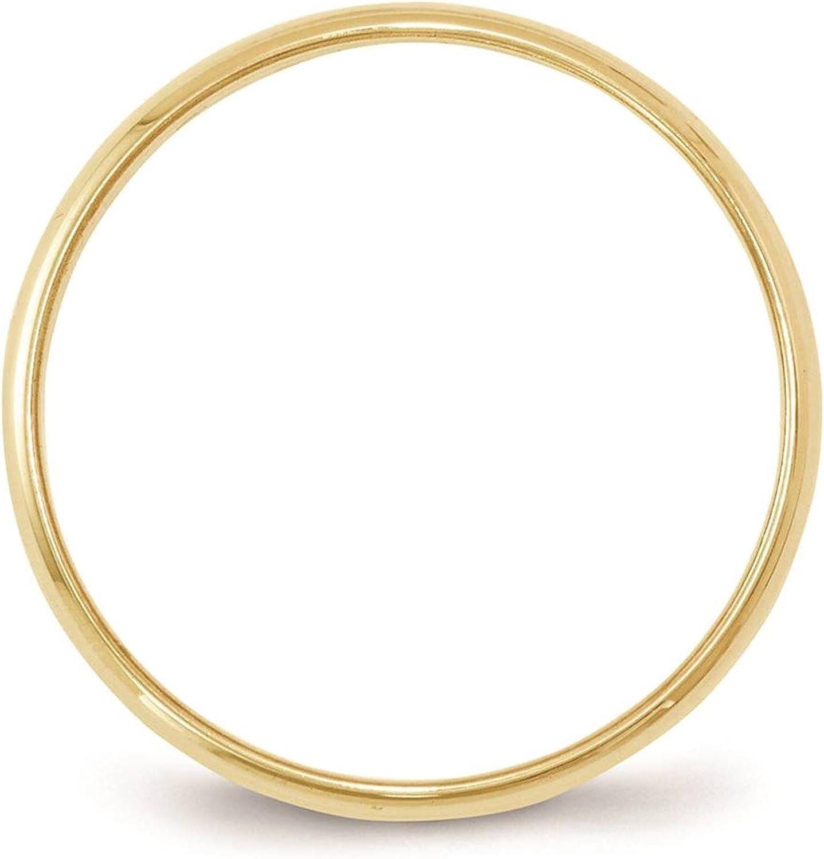 10k Yellow Gold 6mm Light Half Round Wedding Ring Band Size 4-14 Full /& Half Sizes