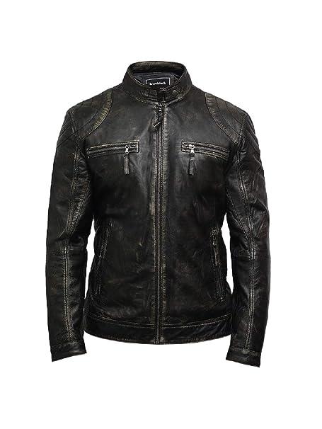 Brandslock Hombres Chaqueta biker de cuero envejecida Chaqueta negra de cuero encerada (negro, XS