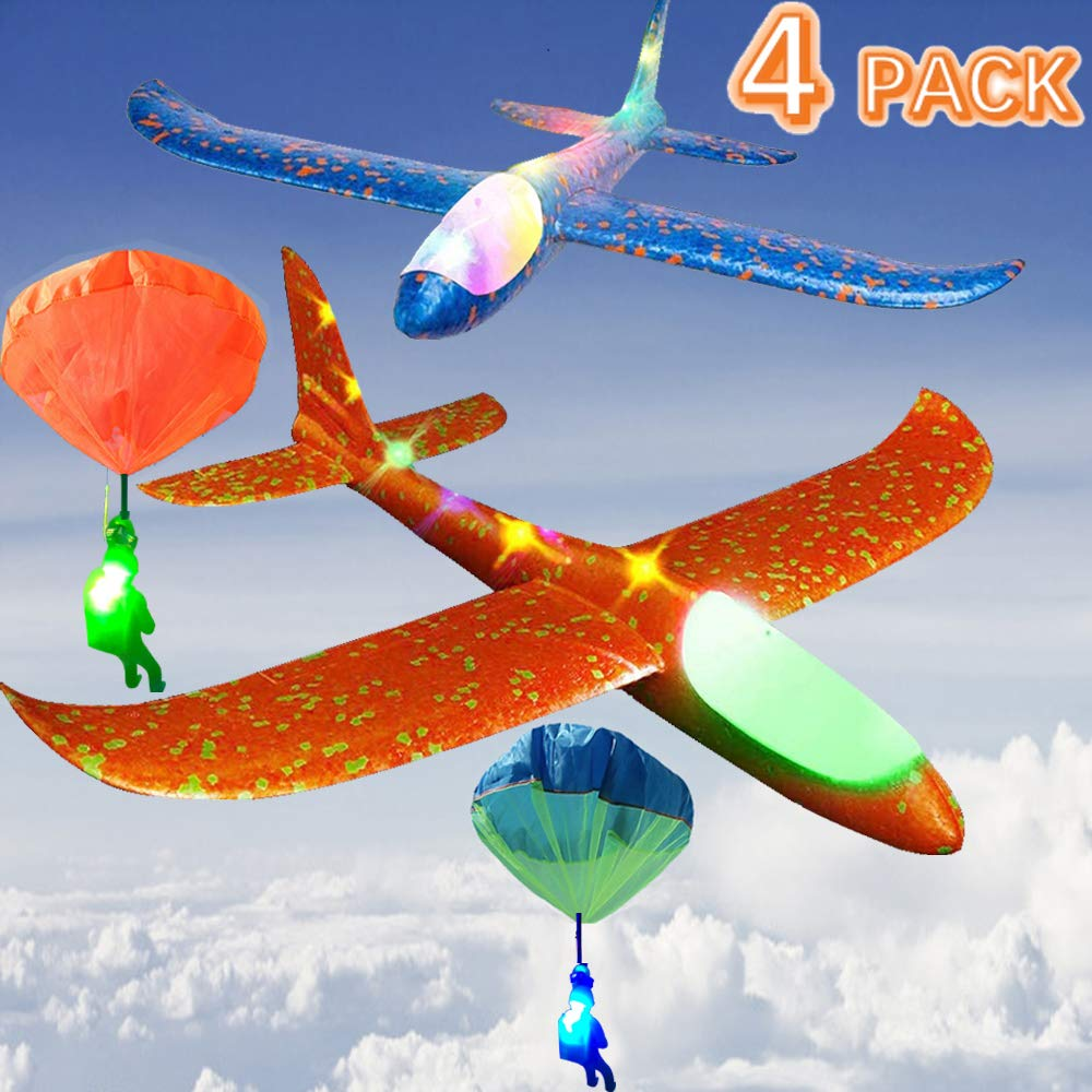 4 Pack Foam Airplane Glider Throwing Plane, 2P 14 Inch LED Light Up Flying Aircraft Jet+2P LED Light Up Toy Parachute Free Throwing Outdoor Sports Flying Toys Gift for Kids Toddlers Teens