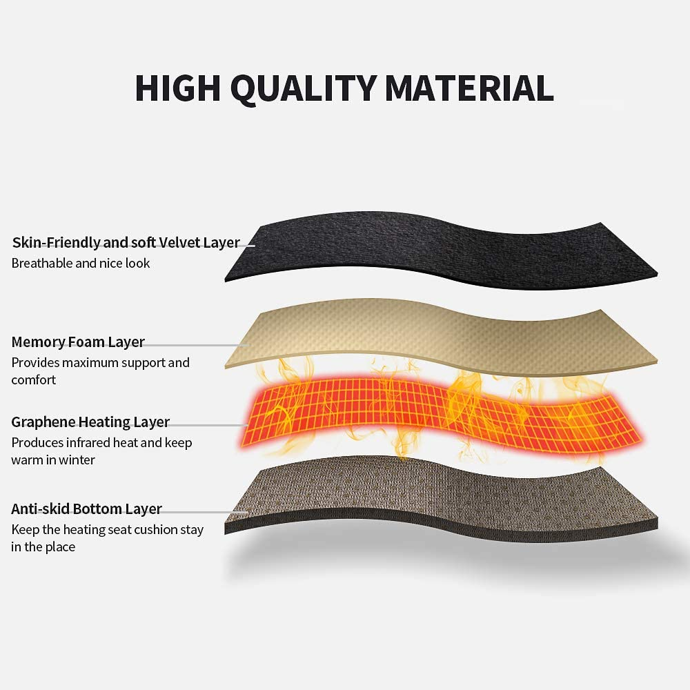 Wayrank Heating Car Seat Cushion Graphene Fast-Heating Electric Warmer Memory Foam Pad