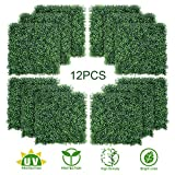 TOPNEW 12PCS Artificial Boxwood Topiary Hedge Plant UV Protection Indoor Outdoor Privacy Fence Home Decor Backyard Garden Decoration Greenery Walls 20' X 20'