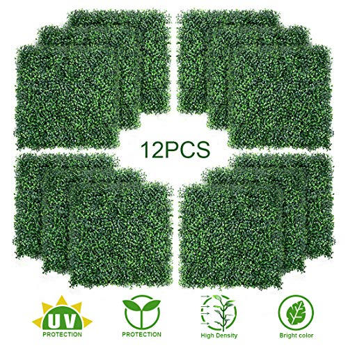 TOPNEW 12PCS Artificial Boxwood Topiary Hedge Plant UV Protection Indoor Outdoor Privacy Fence Home Decor Backyard Garden Decoration Greenery Walls 20
