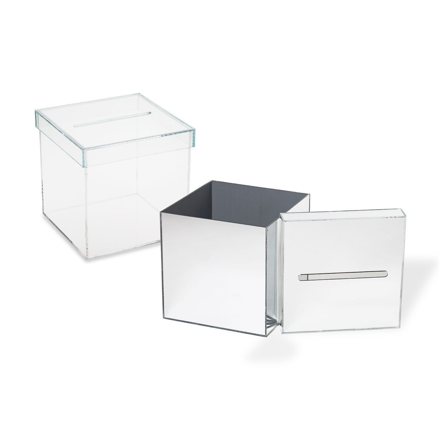 Source One Outstanding Quality Acrylic Donation Box With Removable Lid, Perfect for Weddings, Donations, Any Occasion (12x12x12, Mirror)