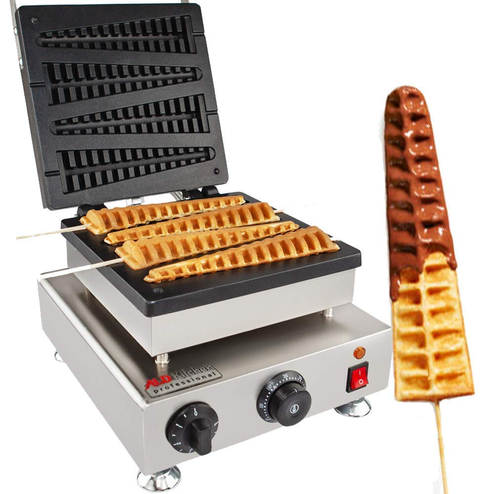 Lolly Stick Waffle Maker ALDKitchen 110V Commercial Quality, Teflon Coated Non-Stick, Stainless Steel (FOUR BIG) by ALDKitchen (Image #1)