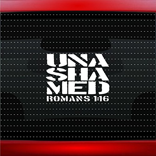 Noizy Graphics Unashamed #5 Romans 116 Christian Car Sticker Truck Window Vinyl Decal Color: Blue