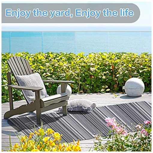 Garden and Outdoor JBGO Reversible Woven Outdoor Rug, 4′ x 6′ Lightweight Large Plastic Striped Stain Proof Indoor Area Runner Mat for Deck… outdoor rugs